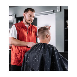 "Barber Strong Barber Strong Cape NanoShield Polyester Hook Closure Black | Barber Shield 54""x64"""