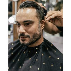 "Barber Strong Barber Strong Cape NanoShield Polyester Hook Closure Black | Gold Shield 54""x64"""