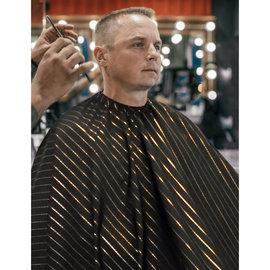 "Barber Strong Barber Strong Cape NanoShield Polyester Hook Closure Black | Gold Stripe 54""x64"""