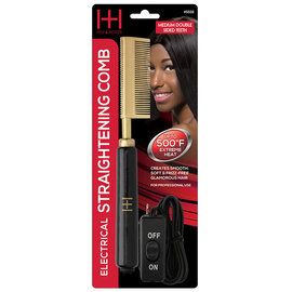 Hot & Hotter Hot & Hotter Electrical Straightening Pressing Comb Medium Double sided Teeth Black | Gold