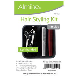 Almine Almine 4pc Hair Styling Kit w/ Cutting & Thinning Shears, Case & Combs Left Handed