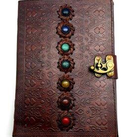 "Fantasy Gifts 7 Chakra Stone 7""x10"" Leather - Journal"