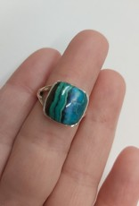 Azurite & Malachite Ring - Size 6 Sterling Silver