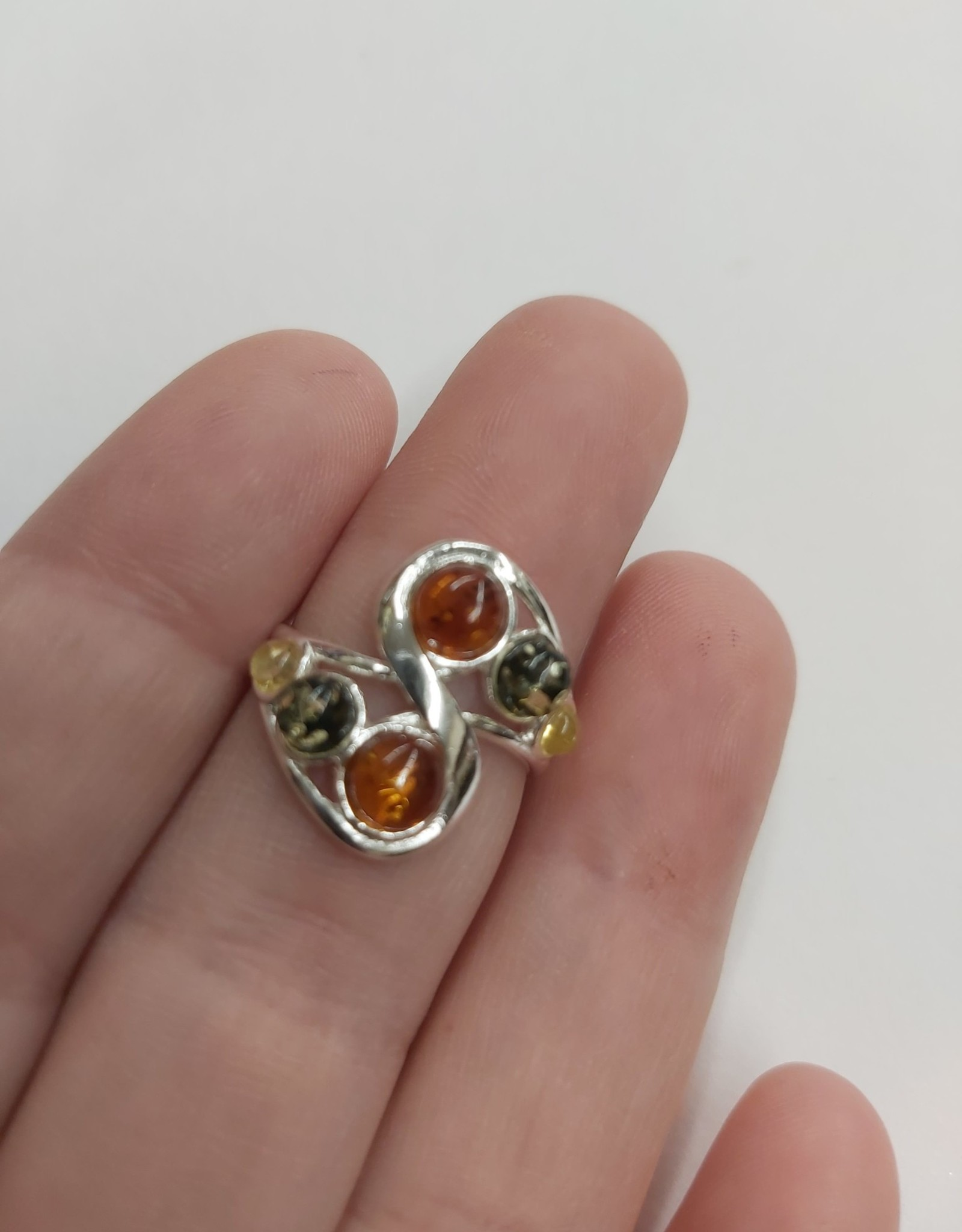 Baltic Amber Ring - Size 6 Sterling Silver
