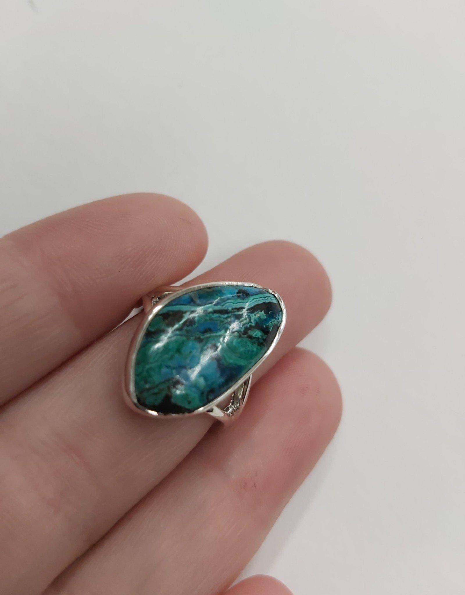 Azurite & Malachite Ring D - Size 6 Sterling Silver
