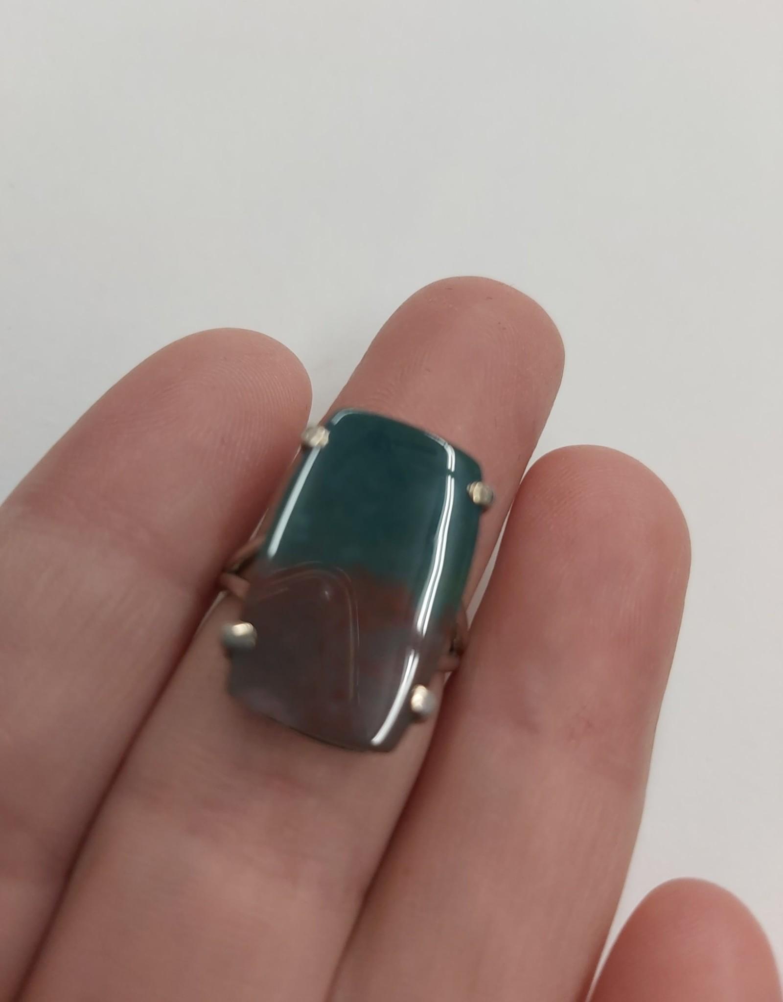 Bloodstone Jasper Ring - Size 6 Sterling Silver