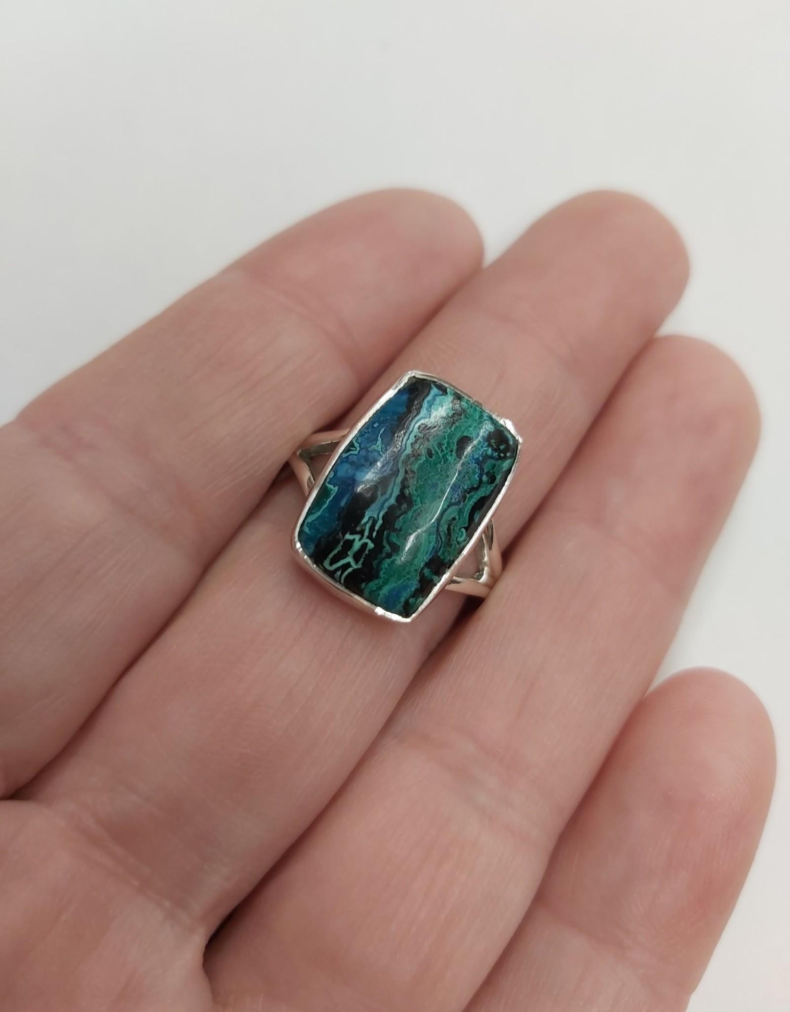 Azurite & Malachite Ring C - Size 7 Sterling Silver