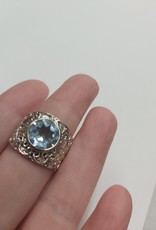 Blue Topaz Ring - Size 8 Sterling Silver