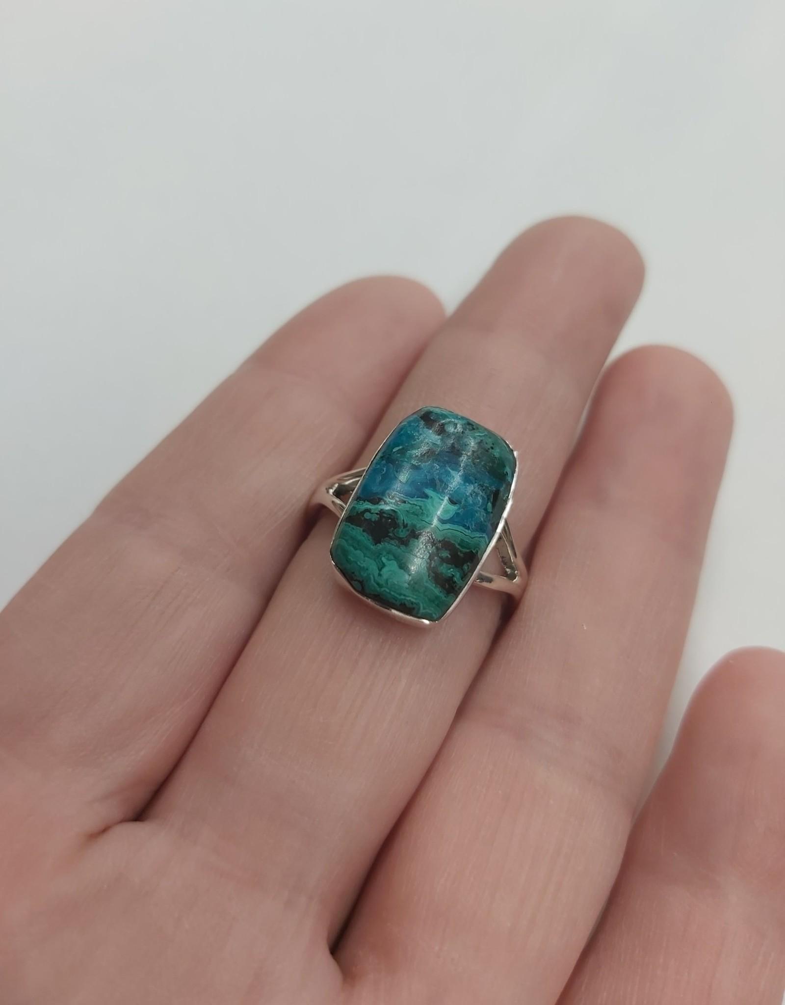 Azurite & Malachite Ring - Size 8 Sterling Silver