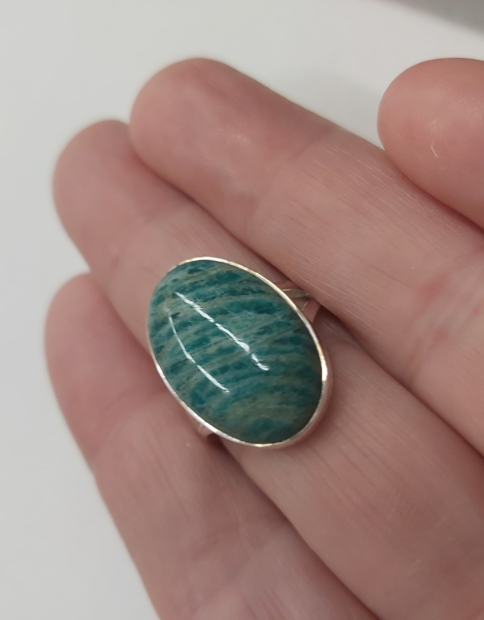 Amazonite Ring B - Size 8 Sterling Silver