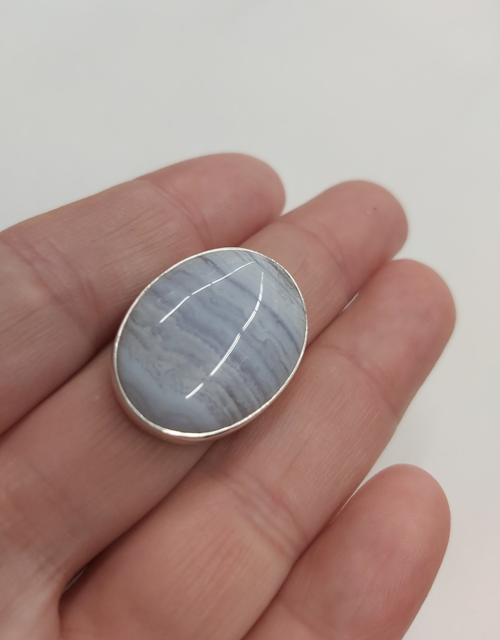 Blue Lace Agate Ring - Size 9 Sterling Silver
