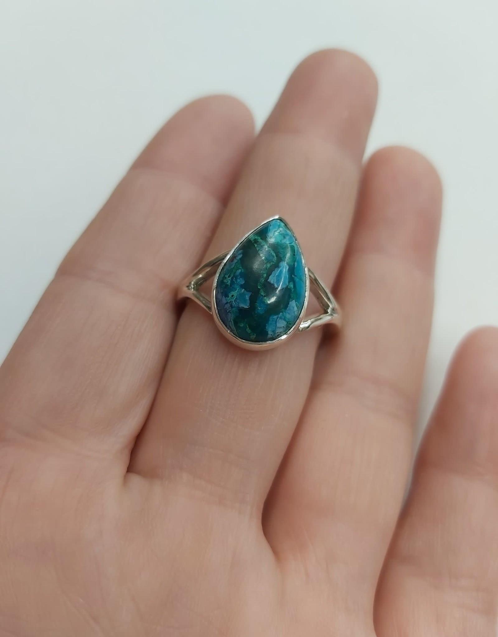 Azurite & Malachite Ring - Size 10 Sterling Silver