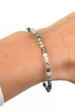 White & Black Agate 3MM Bracelet