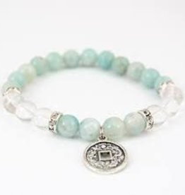 Amazonite & Quartz  with Chinese Coin - Bracelet