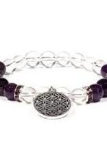 Amethyst & Quartz with Flower of Life - Bracelet