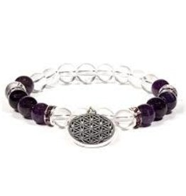 Amethyst & Quartz with Flower of Life - Bracelet
