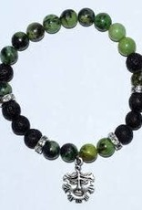Aromatherapy Bracelet Chrysoprase & Lava with Green Man