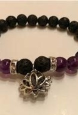 Aromatherapy Bracelet Amethyst & Lava with Lotus