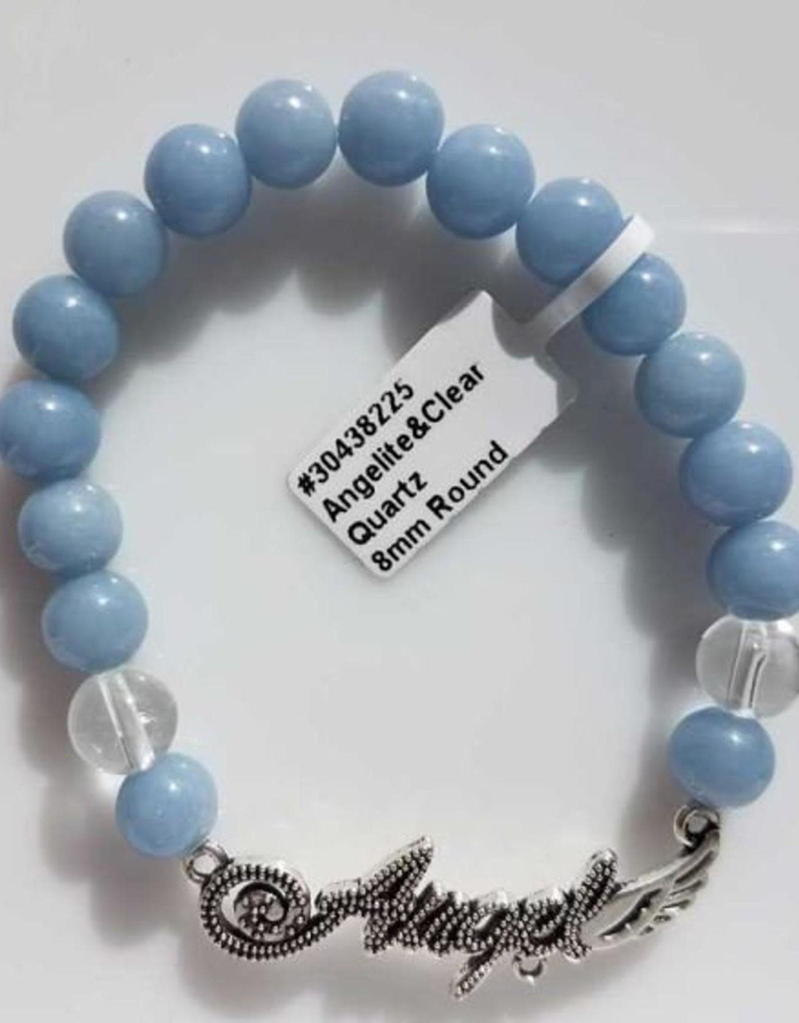 Angelite & Quartz  with Angel Word - Bracelet