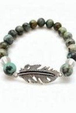 African Turquoise & Quartz  with Feather - Bracelet