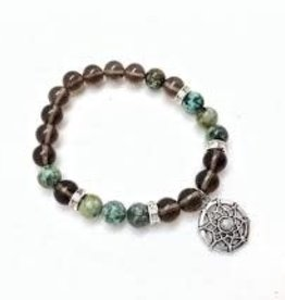 African Turquoise & Smoky Quartz with Dreamcatcher