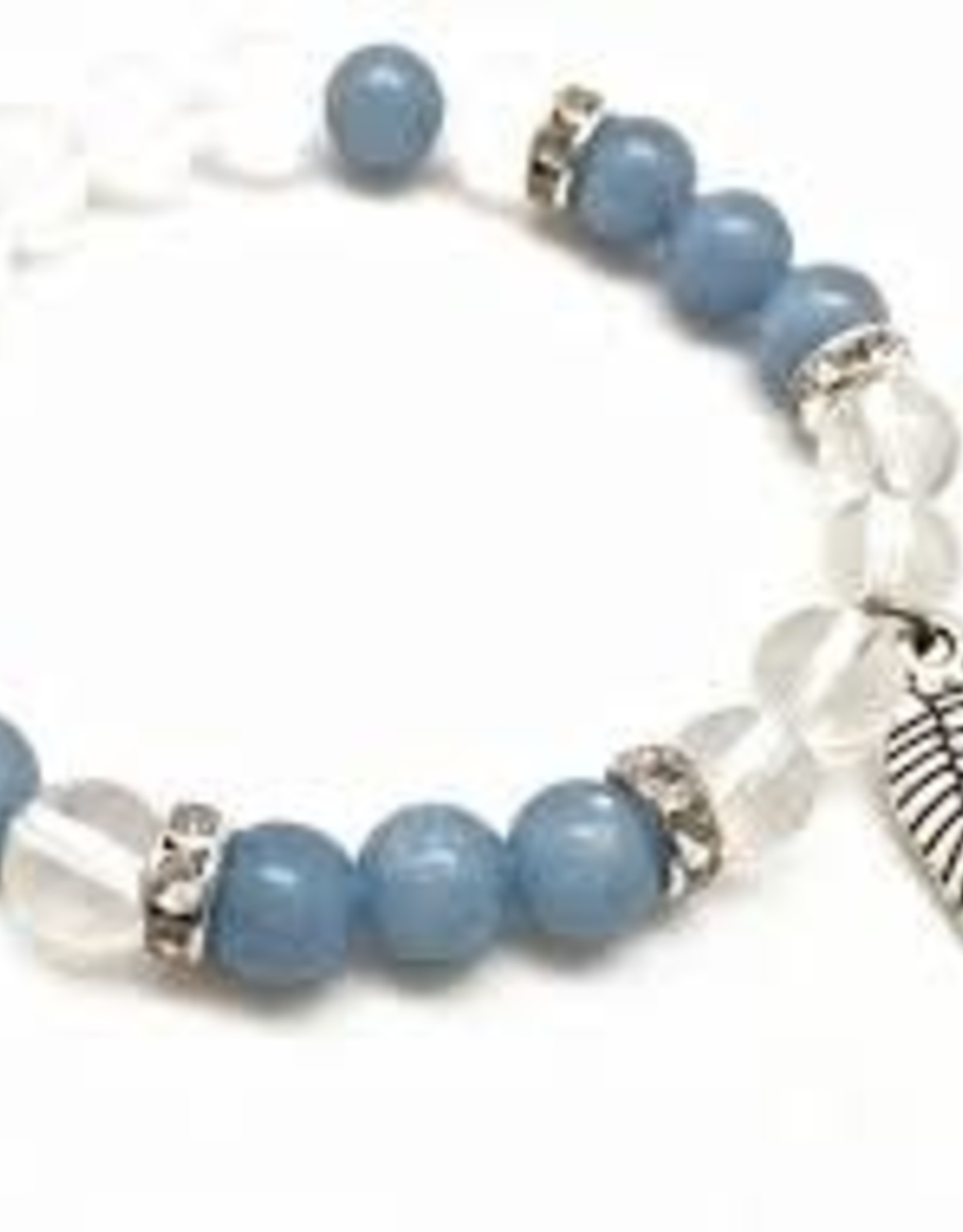 Angelite & Quartz with Angel Wing - Bracelet