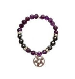 Amethyst & Hematite with Pentacle - Bracelet