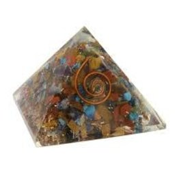 Chakra Orgonite Pyramid with Copper - Small