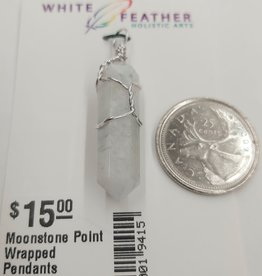 Moonstone Point Wrapped Pendants