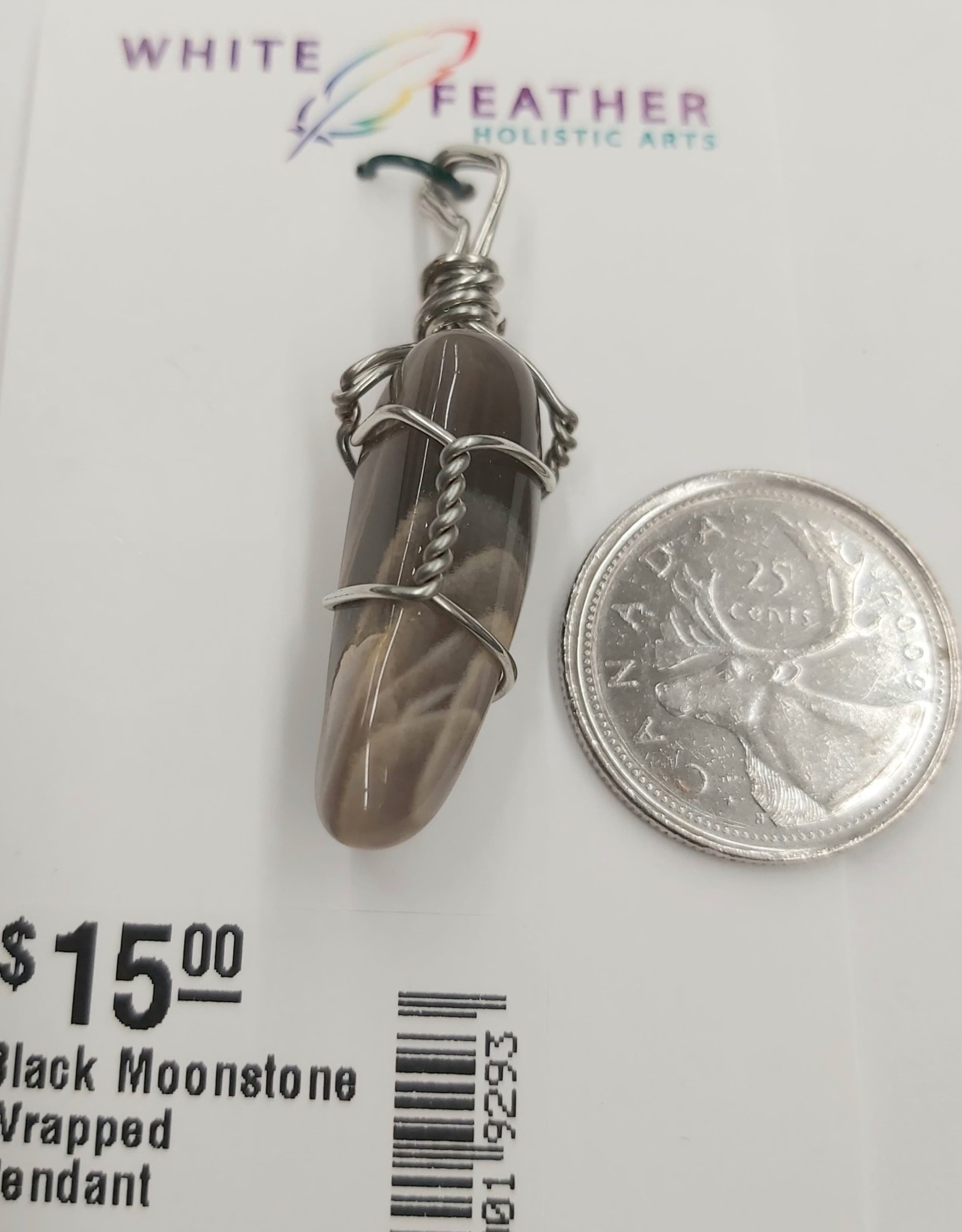 Black Moonstone Wrapped Pendant