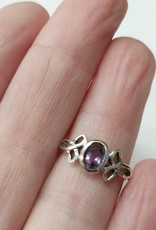 Celtic Knot with Amethyst Ring - Size 5 Sterling Silver
