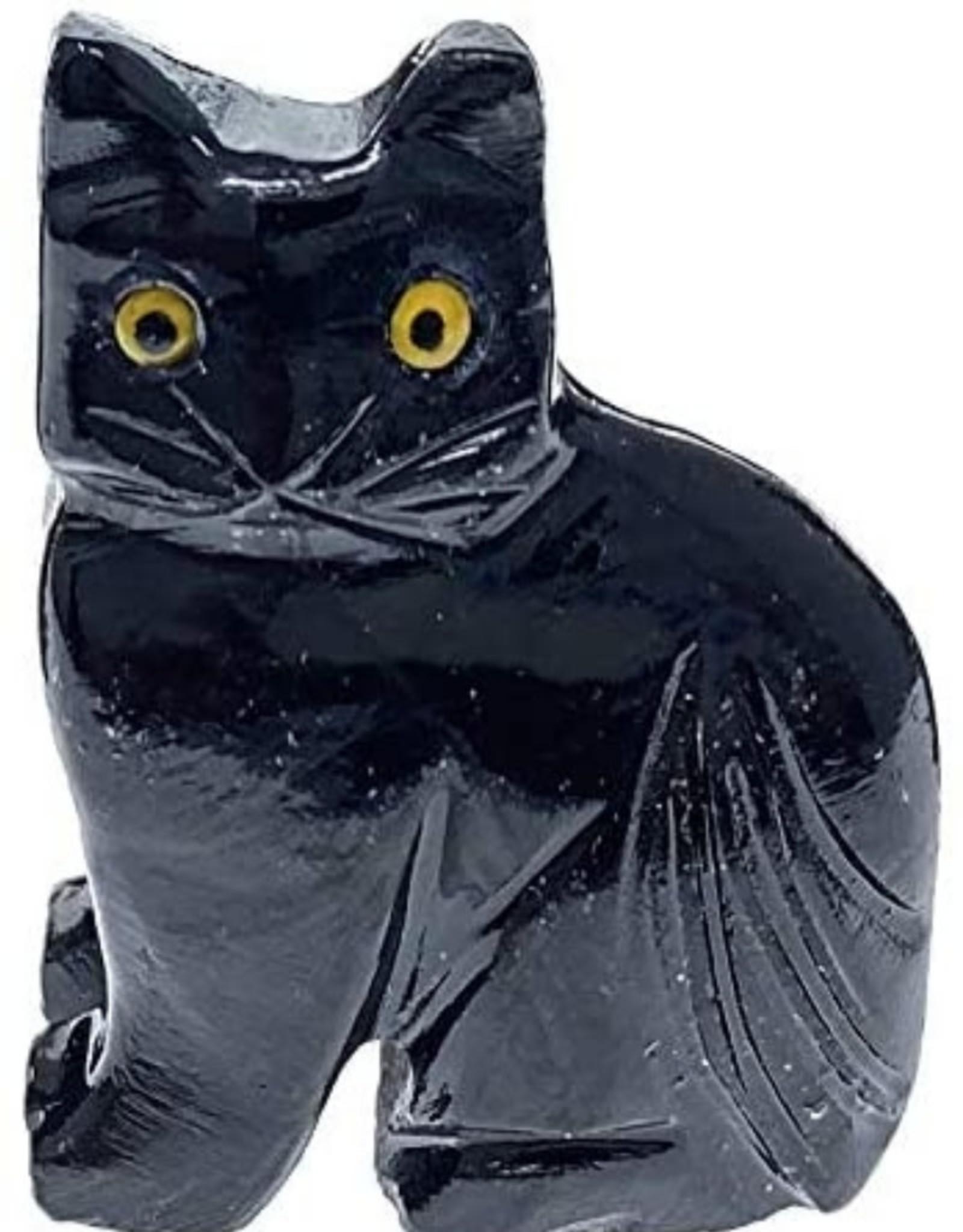 Black Onyx Cat - Stone Animal
