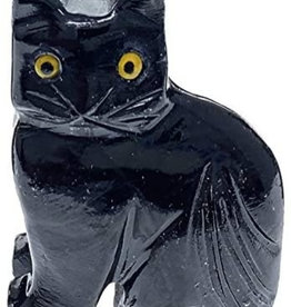 Black Onyx Cat - Stone Animal