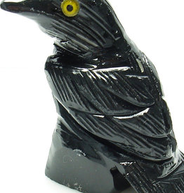 Black Onyx Raven - Stone Animal