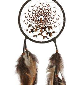 """Monague Native Crafts Dark Brown Energy Flow 4"""" Dream Catcher"""