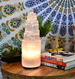 Selenite Tower Lamp 8″-10″H.
