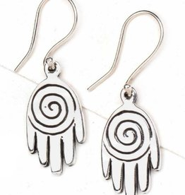 Spiral Hand Sterling Silver Earrings
