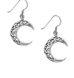 """Celtic Moon 1"""" Sterling Silver Earrings"""