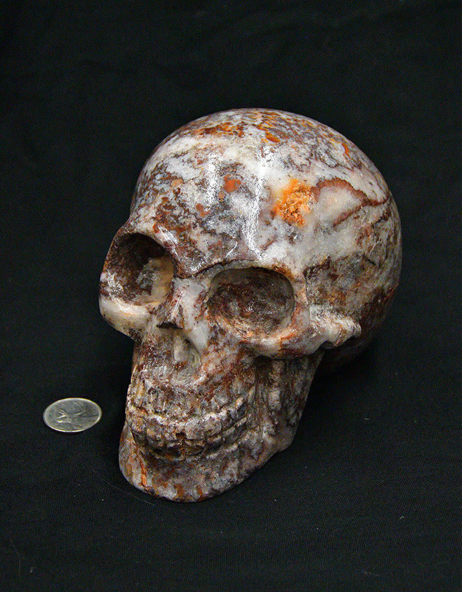 Aztec Red Aragonite Skull 6in