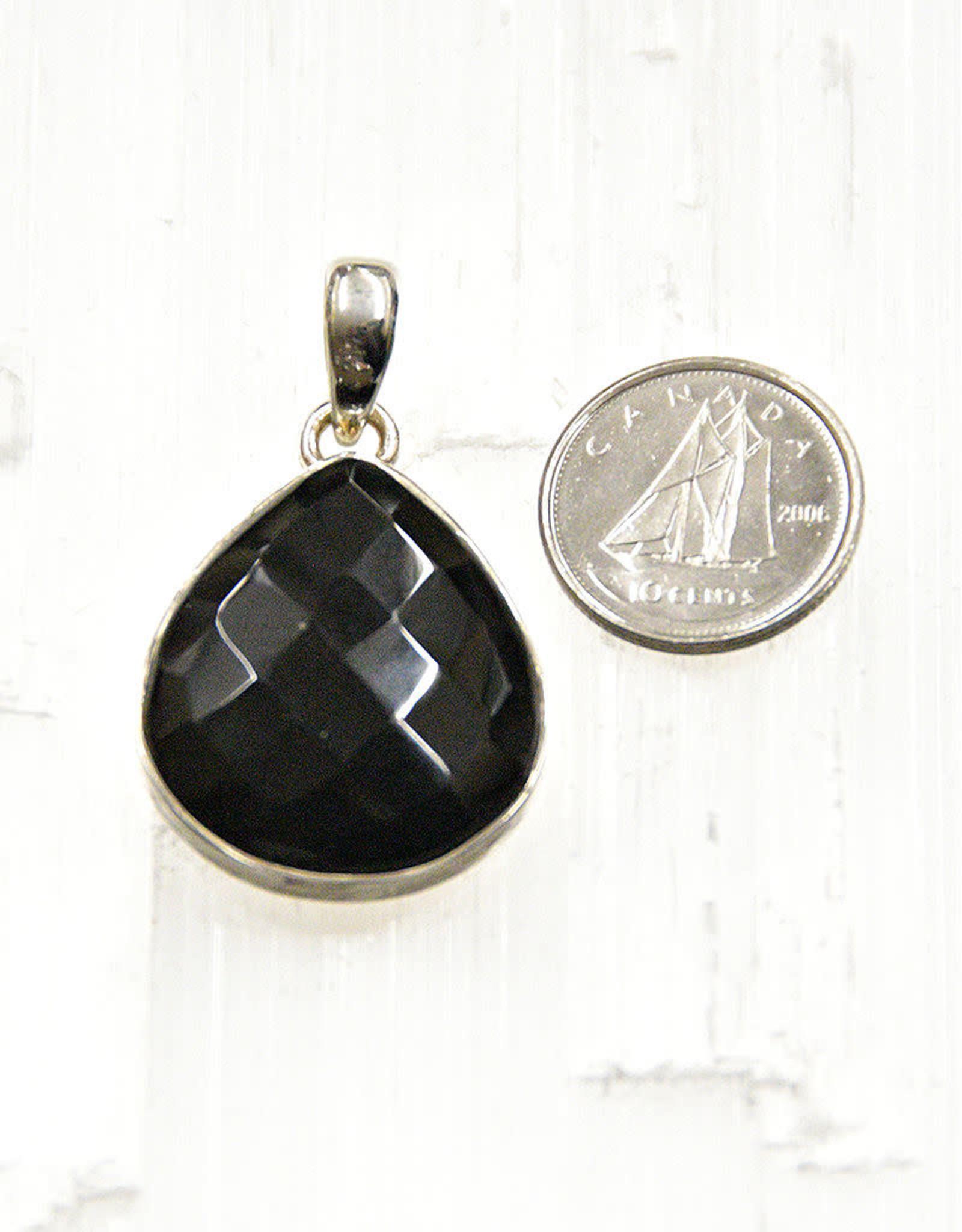 Black Onyx B Pendant Sterling Silver