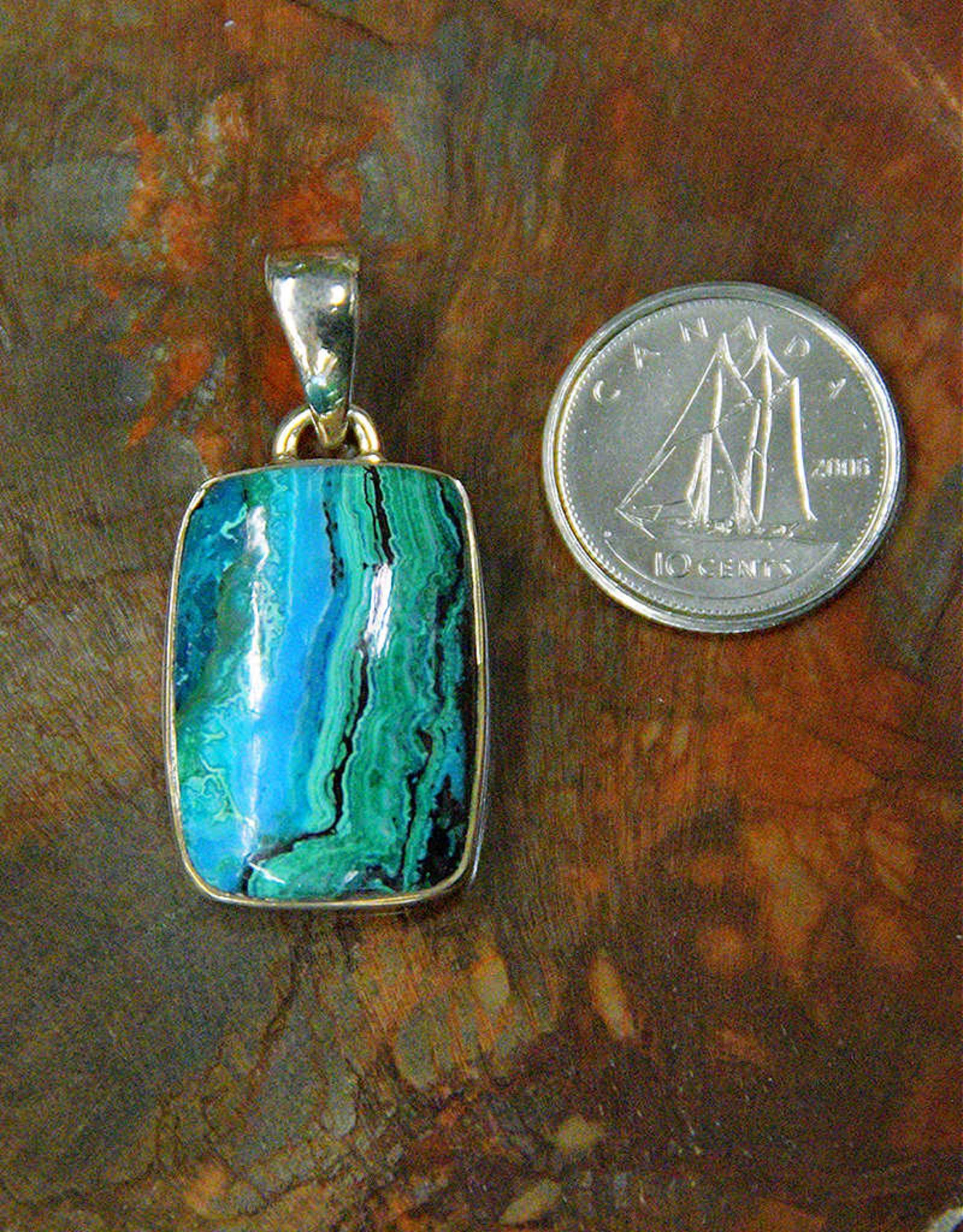 Azurite & Malachite Pendant E Sterling Silver