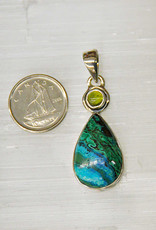 Azurite & Malachite Pendant D with Peridot Sterling Silver