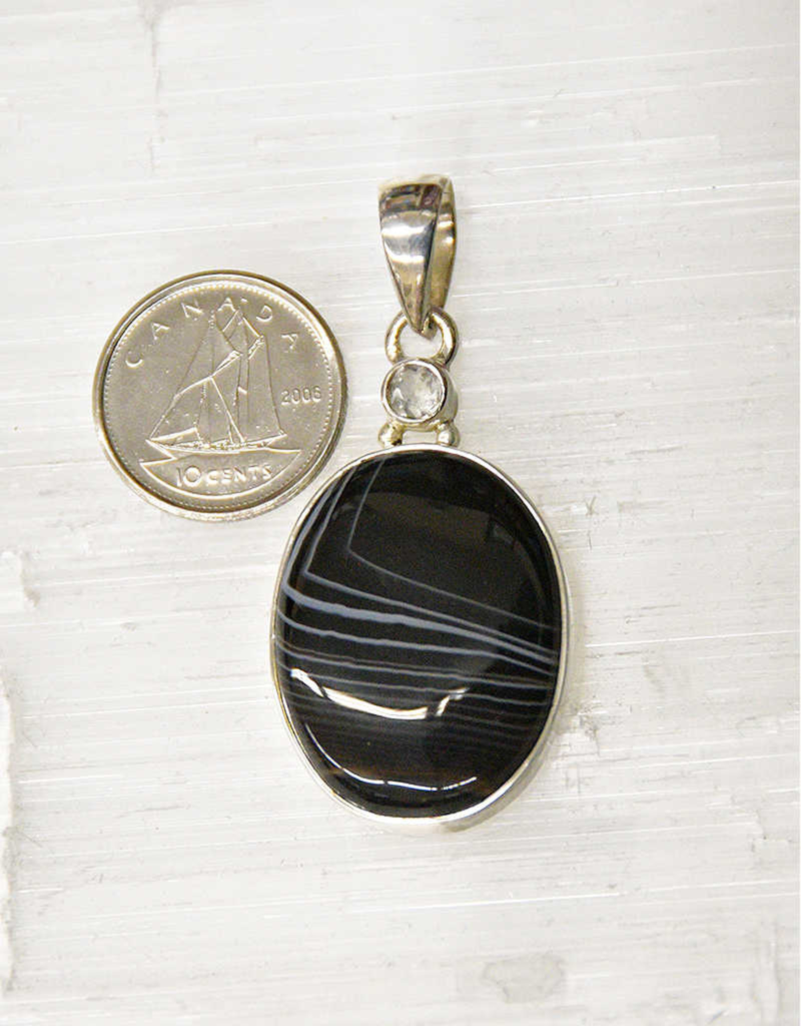 Banded Onyx Pendant Sterling Silver
