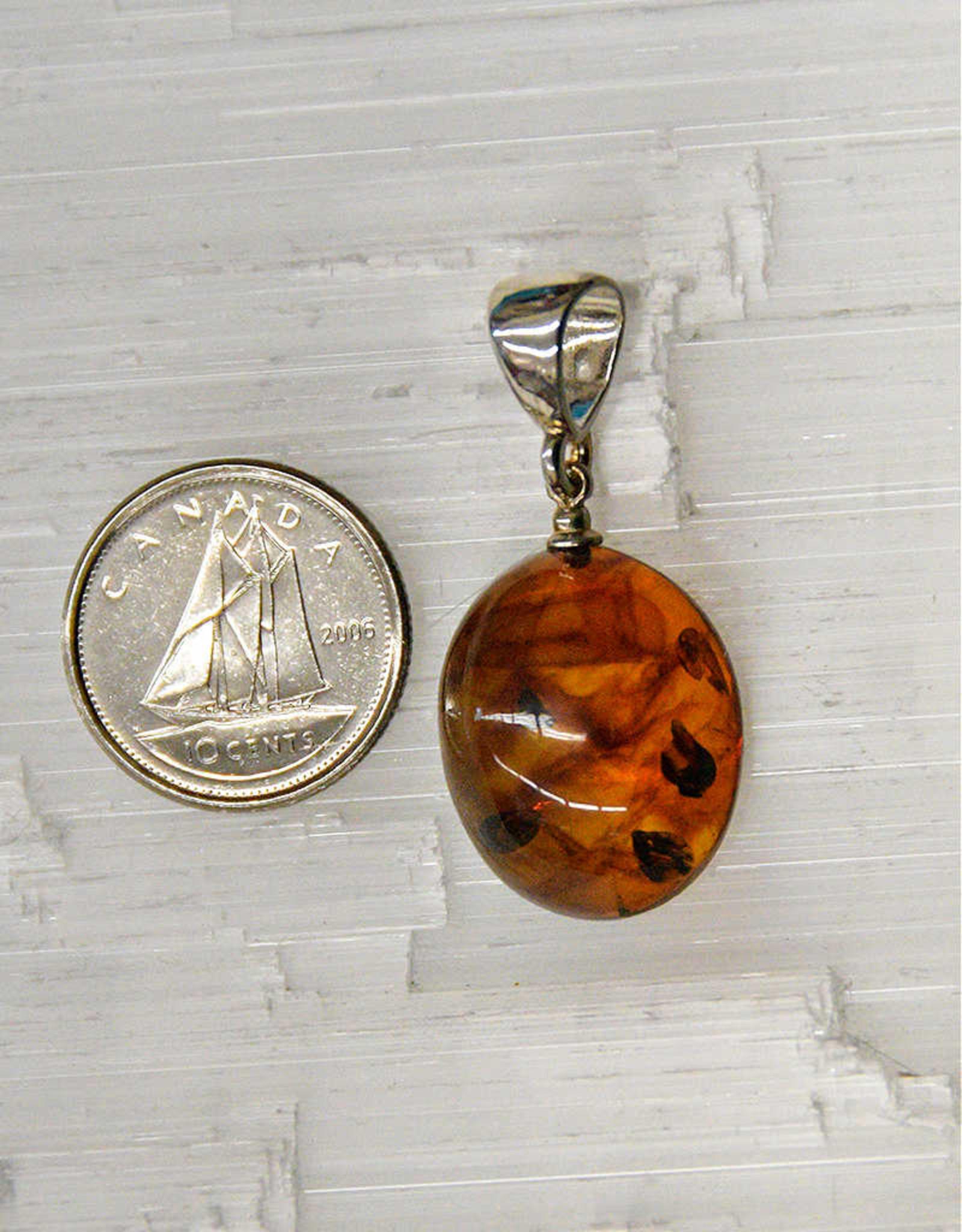 Baltic Amber Pendant E Sterling Silver