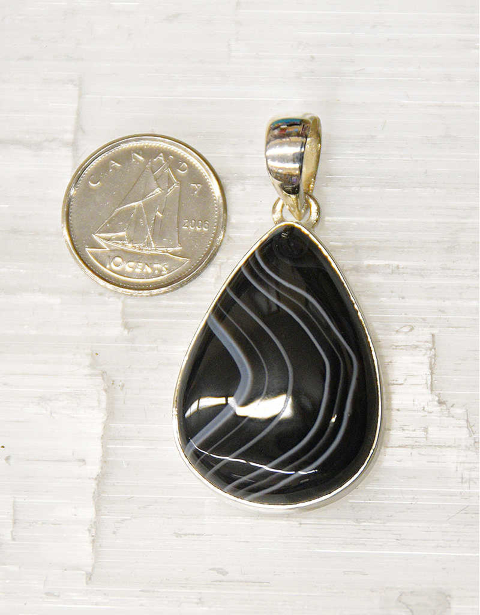 Banded Onyx Pendant B Sterling Silver