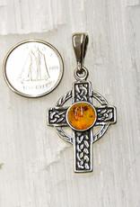 Baltic Amber Pendant Sterling Silver Celtic Cross