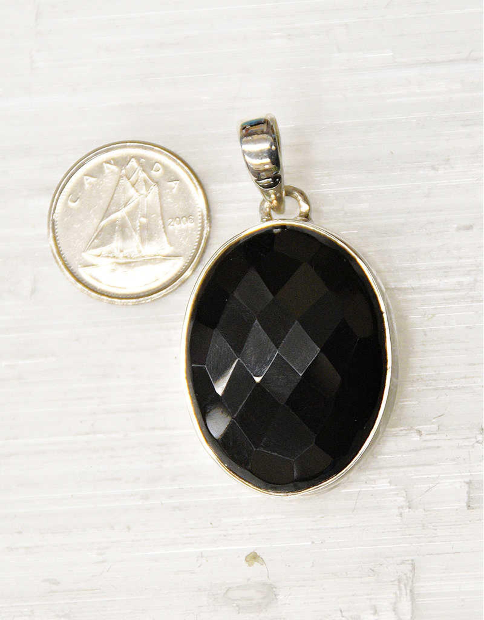 Black Onyx C Pendant Sterling Silver
