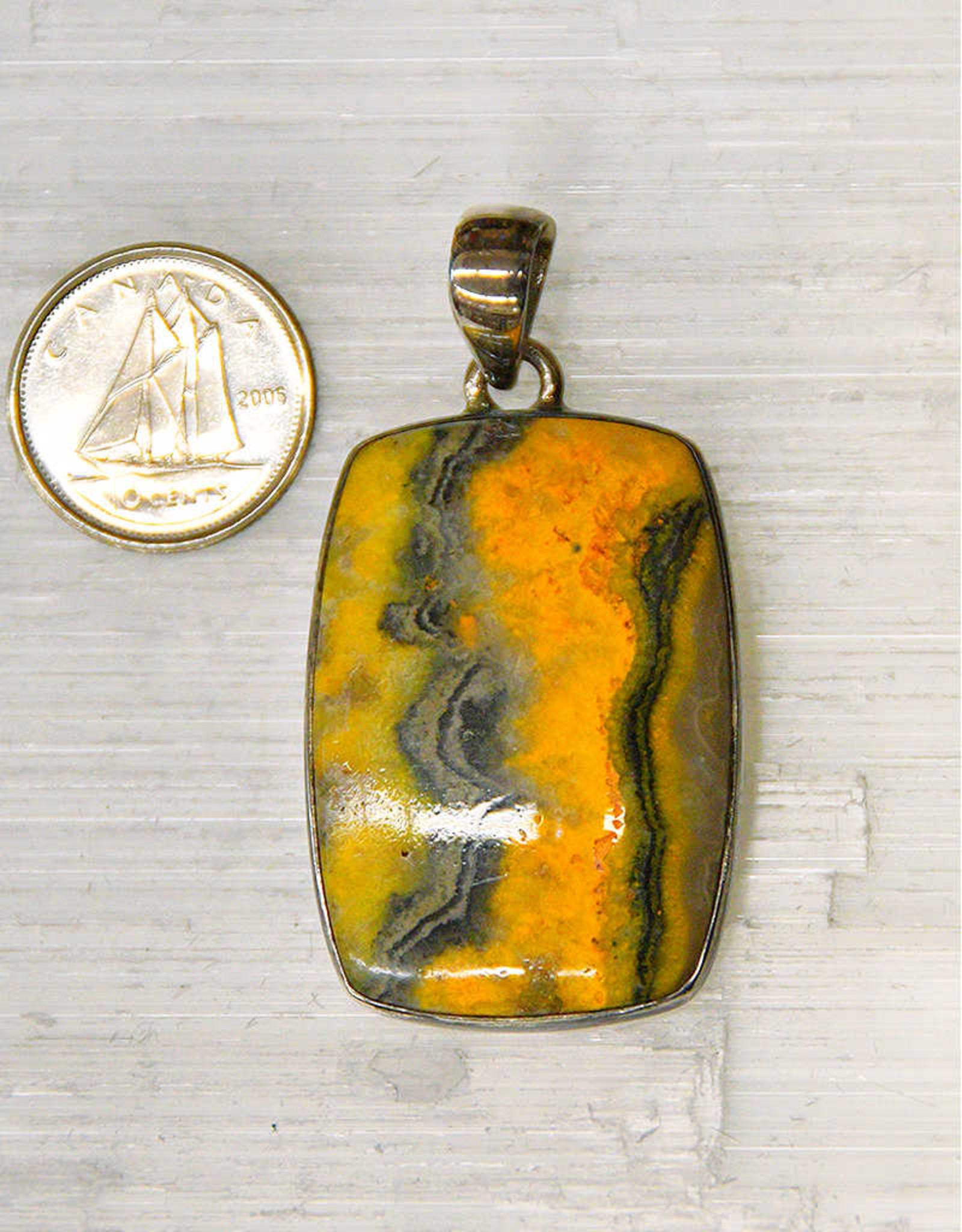 Bumble Bee Jasper Pendant Sterling Silver