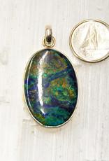 Azurite F Pendant Sterling Silver with Malachite