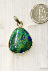 Azurite Pendant G Sterling Silver with Malachite